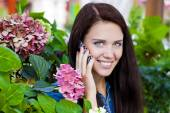 Happy beautiful girl calling by phone  — Stock fotografie