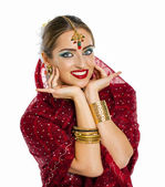 Young pretty woman in indian dress — Foto Stock