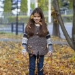 Young beautiful little girl with yellow leaves in autumn park — Stock Photo #55760129