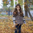 Young beautiful little girl with yellow leaves in autumn park — Stock Photo #55760135