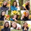 Collage, women with a bouquet of maple leaves — Stock Photo #57467225