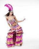 Красивая танцовщица карнавала, удивительный костюм — Стоковое фото