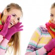 Collage, Two beautiful happy woman in a knitted jacket — Stock Photo #60471027