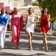 Four shopping women walking at the red square in Moscow — Stock Photo #60669955