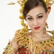 Thai girl dressing with traditional style, Isolated on white — Stock Photo #60943879