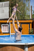Happy family, active father with little child, adorable toddler  — Stock Photo