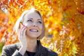 Portrait of a beautiful young woman calling by phone — Stock Photo