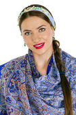 Beauty woman in the national patterned shawl — Stock Photo