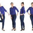 Collage, beautiful women in blue jeans and blue shirt — Stock Photo #61345199