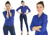 Collage, beautiful women in blue jeans and blue shirt — Stock Photo