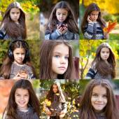 Collage, Autumn beauty little girl — Stock Photo