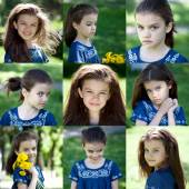 Collage, Summer beauty little girl — Stock Photo