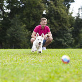 Young man playing with his dog in the park — Stock Photo