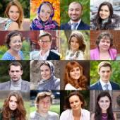 Collage, Happy people — Stock Photo