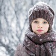 Happy little girl on the background of a winter park — Stock Photo #61907367