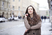 Young beautiful woman in stylish mink coat — Stock Photo