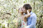 Portrait of love couple embracing outdoor — Stock Photo