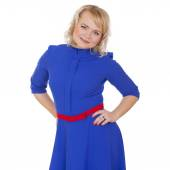 Blonde woman portrait in blue dress — Stock Photo