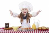 Beautiful little baby dressed as a cook — Foto de Stock