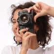 Close up lifestyle portrait of young pretty photographer girl ma — Stock Photo #68889199