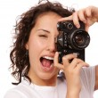 Close up lifestyle portrait of young pretty photographer girl ma — Stock Photo #68889247