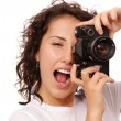 Close up lifestyle portrait of young pretty photographer girl ma — Stock Photo #68889249