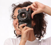 Close up lifestyle portrait of young pretty photographer girl ma — Stock Photo