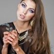Portrait of the young sexy woman in black tunic Arabic — Stock Photo #69095995