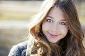 Portrait close up of young beautiful girl — Stock Photo