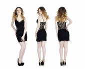 Model Tests, Young slim women posing in black dress  — Stock Photo