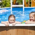 Two sisters in bikini near swimming pool. Hot Summer — Stock Photo #76073561