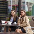 Two young business women having lunch break together — Stock Photo #79158568