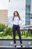 Portrait in full length, young business woman in white shirt — Stock Photo