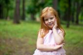 Close up, portrait of little redheaded girl — Stock Photo