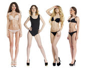 Collage of four models in lingerie posing in the studio on an is — Stock Photo