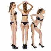 Model tests, Three Young slim women posing in sexy underwear — Stock Photo