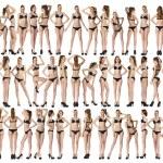 Full length portrait of a beautiful young models in black bikini — Stock Photo #82725152