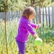 Cute little girl watering summer garden — Stock Photo #63649533