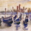 Venice gondolas in The Grand Canal at sunset — Stock Photo #64239341