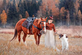 Lady in riding habbit  at horse hunting — Stock Photo