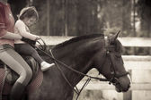 Mom and child  on the horse — Stock Photo