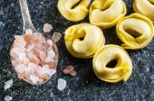 Italian ravioli and sea salt — Stock fotografie
