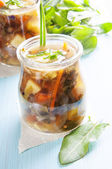 Sorrel soup in small bottles — Stock Photo