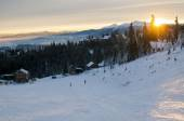 Sunset in winter mountains — Stock Photo