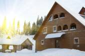 House on resort in winter mountains — 图库照片