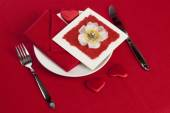 Table setting of Valentine's Day — Stock Photo