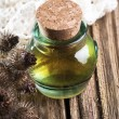 Burdock oil, dry flowers and seeds — Stock Photo #63223081