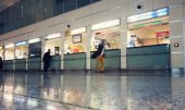 Ticket offices at the Tbilisi International Airport — Stock Photo