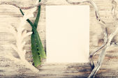 Sketch book with coral and herbs — Stockfoto