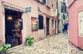 Narrow Street in Rovinj town, Croatia. — Stock Photo